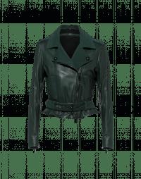 COHORT: Giacca biker con cintura in pelle e camoscio verde scuro