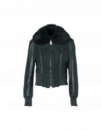 REBELLION: Winter green leather and shearling bomber jacket