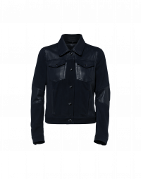 STATUS: Jacket in navy leather and suede