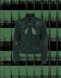 STATUS: Giacca in pelle verde scuro e camoscio