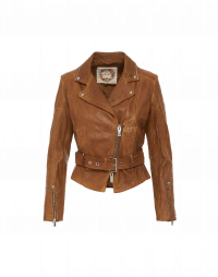 CHICANE: Biker style jacket in tobacco leather