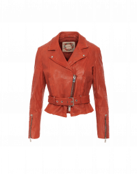 CHICANE: Giacca biker in pelle rosso terracotta