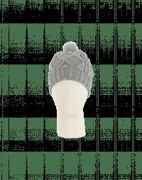 SONYA: Berretta grigio chiaro con pompom in visone