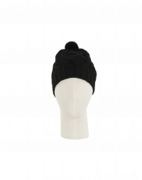SONYA: Berretta nero con pompom in visone