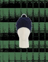 SONYA: Berretta blu navy con pompom in visone