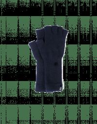 POINTER: Navy knitted cashmere fingerless gloves