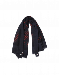 POKER: Blue and red polka dot scarf