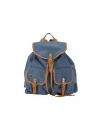 GRAB: Sky blue cotton canvas and leather backpack