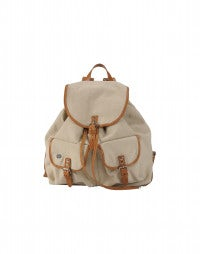 GRAB: Sand cotton canvas and leather backpack