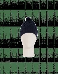 SONYA: Navy cable stitch mink pompom hat