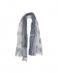 AUSTEN: Blue and white multi-panel scarf with button