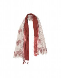 AUSTEN: Red and white multi-panel scarf with button