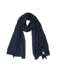 FREYA: Blue tone-on-tone embroidered scarf