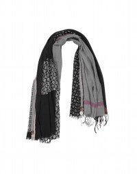 PAYSAN: Multi-panel scarf in blacks with red accent