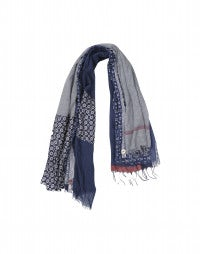 PAYSAN: Multi-panel scarf in blues with red accent