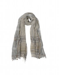 WITNEY: Taupe and gold check voile scarf