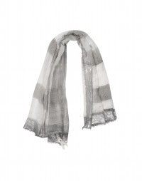 KANJI: Pewter and cream ombré and metallic stripe print scarf