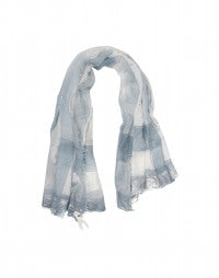 KANJI: Blue and cream ombré and metallic stripe print scarf