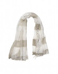 KANJI: Bronze and cream ombré and metallic stripe print scarf