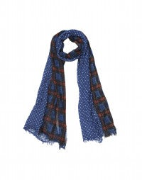 PEDDLAR: Tartan plaid and dot cotton scarf