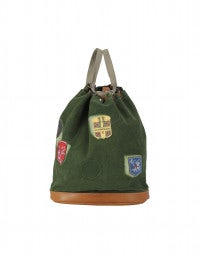 BLEACHER: Forest green emblem patch duffle bag