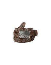 PUNCH: Narrow floral motif studded belt