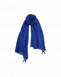 BLIZZARD: Blue wool and silk mix scarf