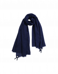 BLIZZARD: Navy wool and silk mix scarf