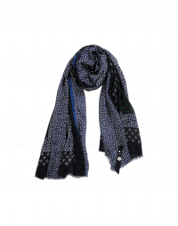 DAINTY: Green and white dot print scarf with panels of silk
