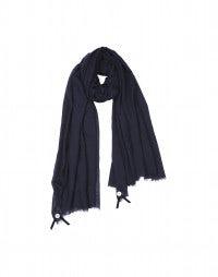 SOLSTICE: Navy silk-wool drape scarf