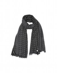 ZENITH: Washed black floral gingham scarf