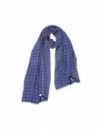 ZENITH: Washed blue floral gingham scarf