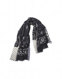 CLAVIER: Blue wool and silk multi panel embellished scarf