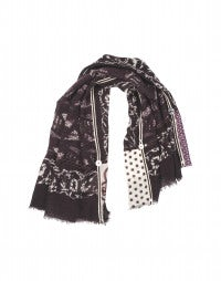 CLAVIER: Burgundy wool and silk multi panel embellished scarf