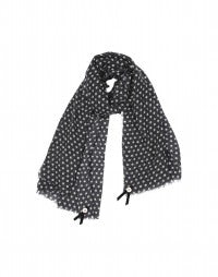 PICCOLLO: Washed grey pure wool polka scarf