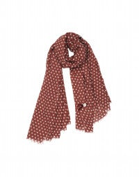 PICCOLLO: Washed red pure wool polka scarf