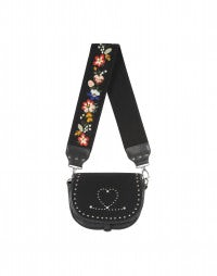 CASKET: Black leather, stud and embroidery handbag