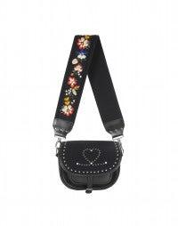 CASKET: Tasche aus navyblauem Leder mit Nieten und Stickerei