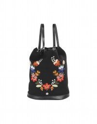 STASH: Black embroidered flowers backpack