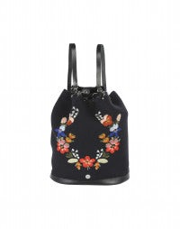 STASH: Navy embroidered flowers backpack