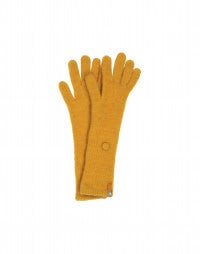 CUSHY: Mustard longer length wool mix gloves