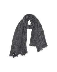 GALAXY: Grey bouclé wool scarf with sequins