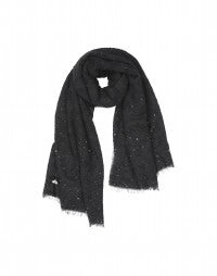 GALAXY: Black bouclé wool scarf with sequins