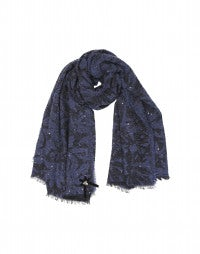GALAXY: Blue bouclé wool scarf with sequins
