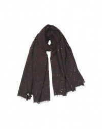 GALAXY: Brown bouclé wool scarf with sequins
