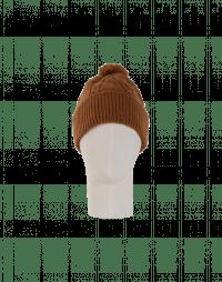 ASPECT: Tan cable stitch bobble tassel hat