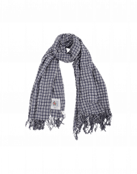 PERFECTLY: Navy and white cotton check scarf
