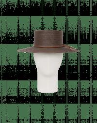 ABROAD: Cappello in paglia marrone in stile bolero