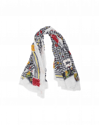 GUSTO: Blue ground check, stripe and floral scarf