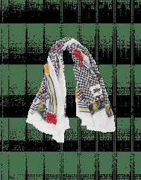 GUSTO: Sciarpa avorio con mix di stampe